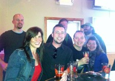 Most of the crew at the Starr Hill release party at the Brewhouse Grille on Monday.