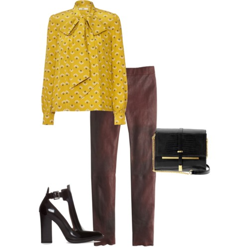 Leather Trousers: J. Crew; Tie Neck Top: Orla Kiely; Cross Body Bag: Vince Camuto; Pumps: Zara.