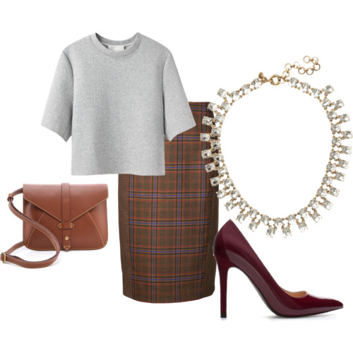Plaid Pencil: Jenni Kayne; Cropped Boxy T-Shirt: Phillip Lim; Cross Body Saddle Bag: Joy Gryson Church; Pumps: Zara; Necklace: J. Crew