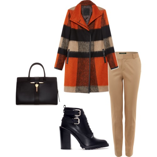 Statement Wool Coat: Les Copains; Khaki Trousers: Lauren by Ralph Lauren; Ankle Boot: Zara; Bag: Zara