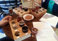 Sample trays at Milkhouse Brewery at Stillpoint Farms.