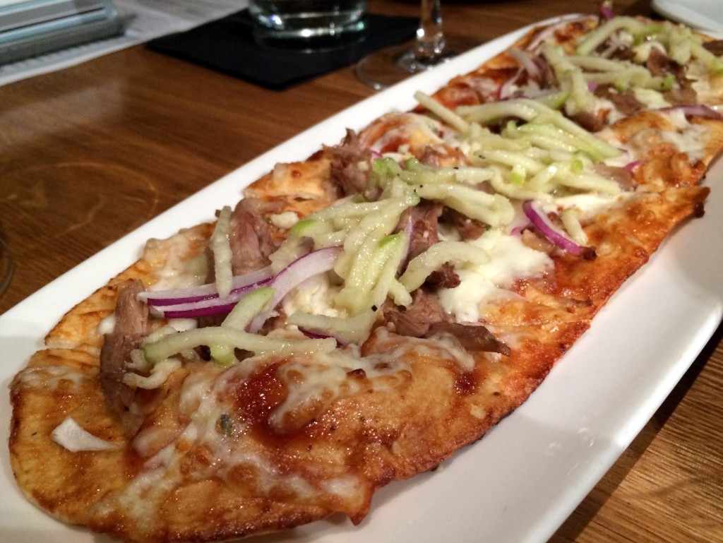 devon-roasted duck flatbread