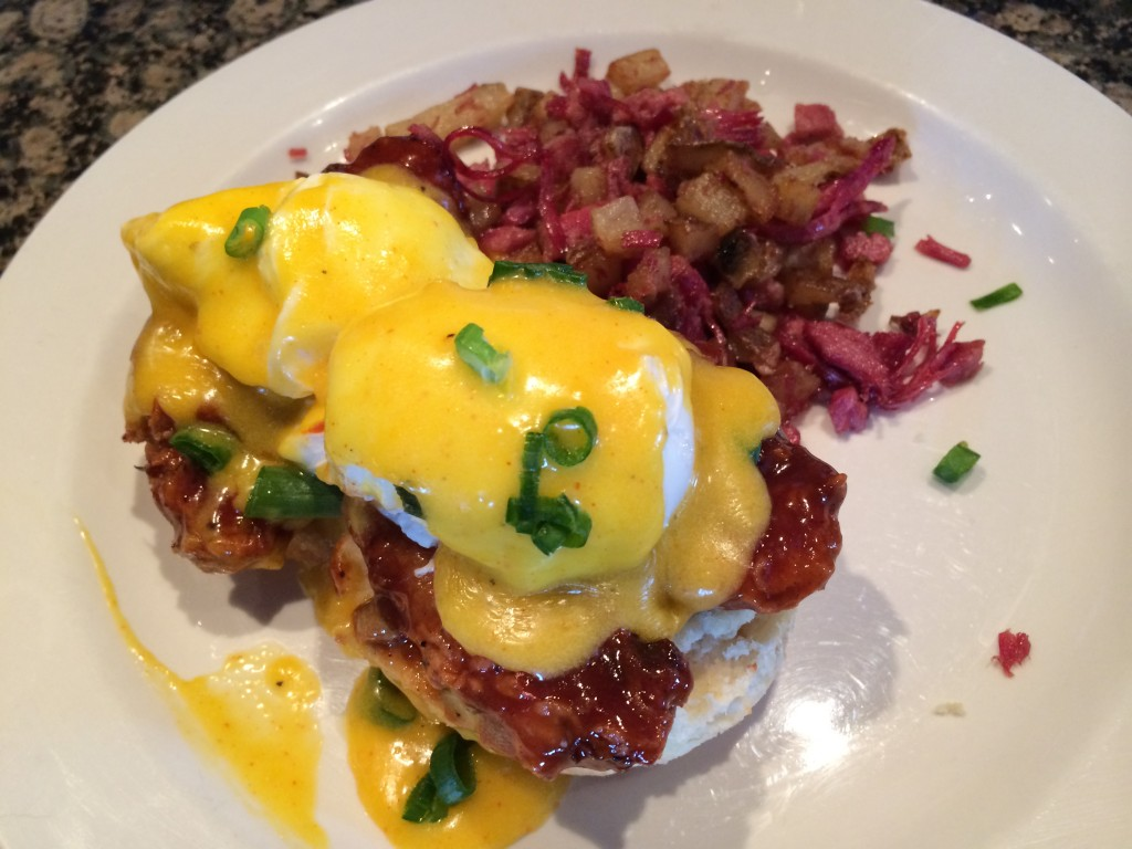 BBQ Pork Belly Benedict: Brunch at The Speakeasy.