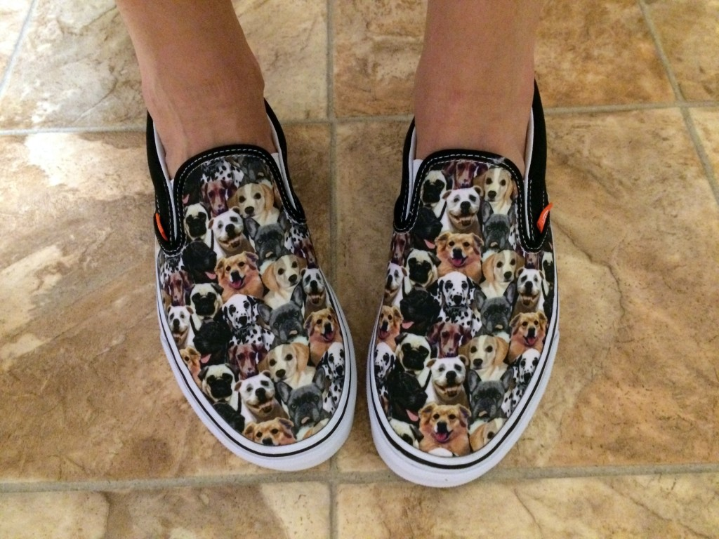 Slip-on sneaks, like Sara's dog shoes (Vans) also work with jeans and a tee.