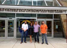 The #WOT crew: GK Visual & Sara in front of Whitaker Center.