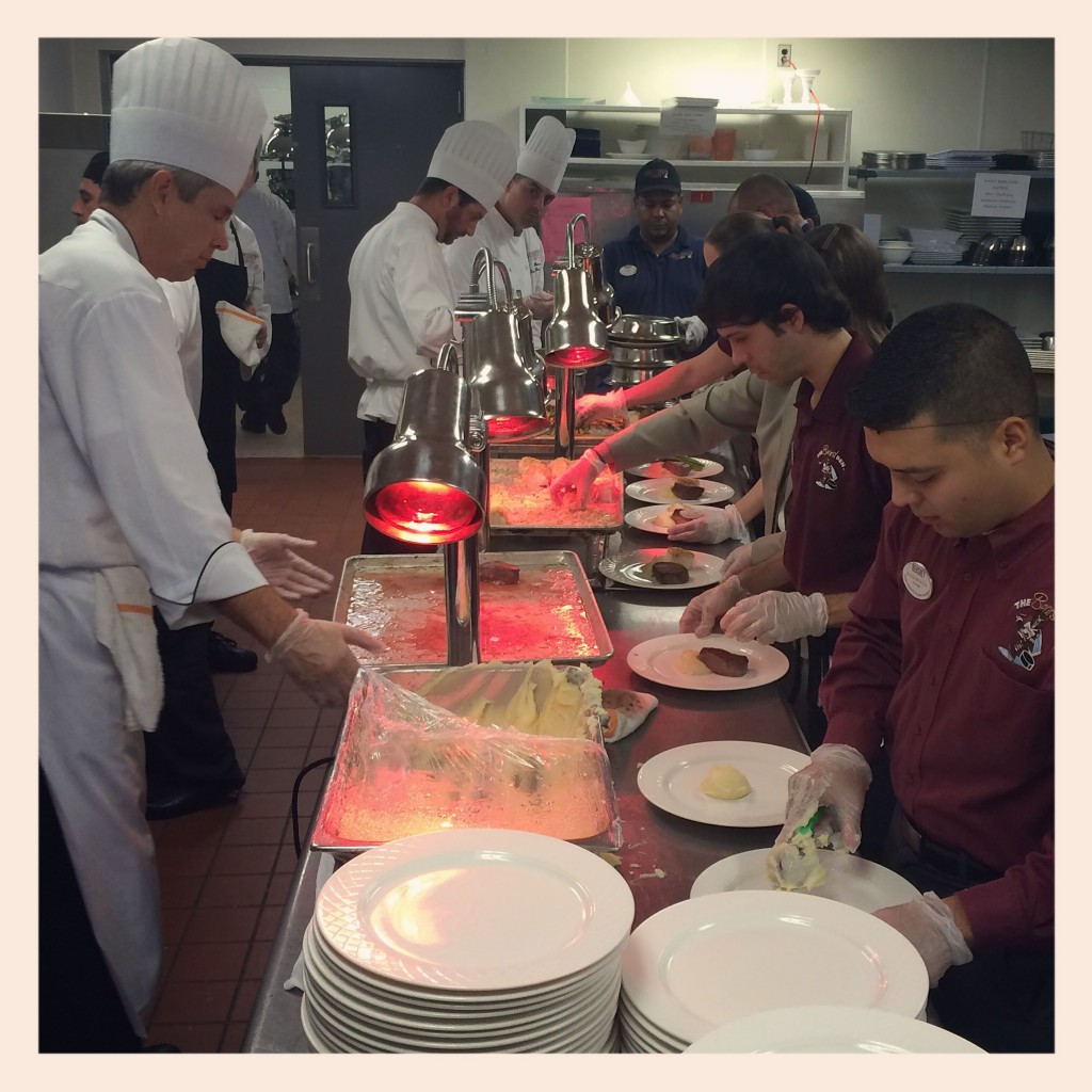 The evening of our visit, the kitchen was busy plating for 1,800 attendees of the gubernatorial debate.