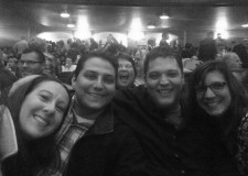 At Hershey Theatre to see Alton Brown. Epic photobomb by the fun-loving woman behind us.