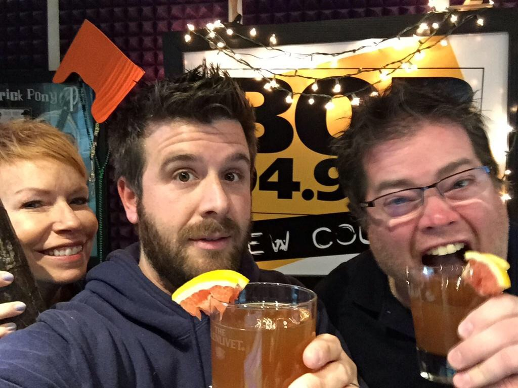 Nancy, Hauer & Newman drinking the Swing Vote today on BOB 94.9.