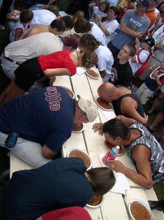 Hands-free chili eating contest, Sept. 4, 2004