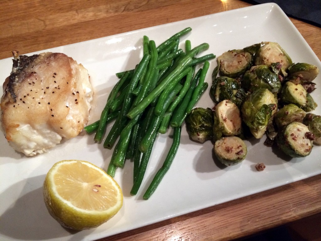 Grilled Groper with brussel sprous and haricot verts at Devon Seafood Grill Hershey.