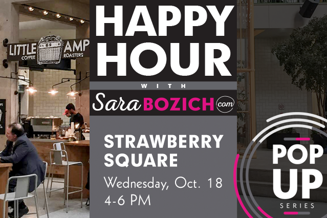pop-up happy hour strawberry square